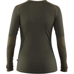 Fjällräven Keb T-shirt Manches longues Laine Femme, laurel green-deep forest